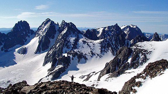 Climber on Gannett Peak Wind River Range Pinedale WY
