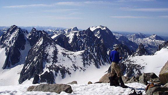 Climber on the Summit of Gannett Peak - Wind River Range