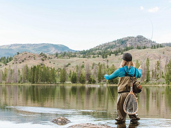 Fly fishing at Little Half Moon Lake, Pinedale, WY.